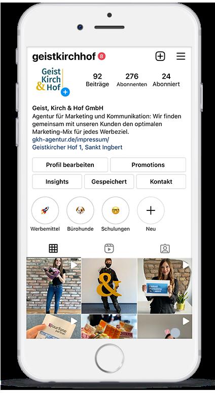 Smartphone Instagram Profil von Geist, Kirch & Hof - Werbeagentur im Saarland